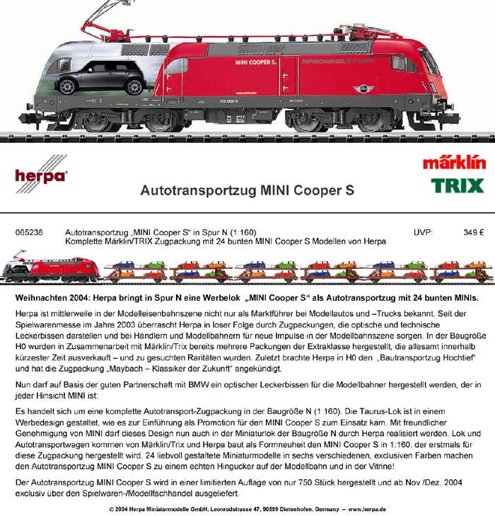 Minitrix N 1:160 DB Niederbordwagen beladen mit Wiking N John Deere rotbraun