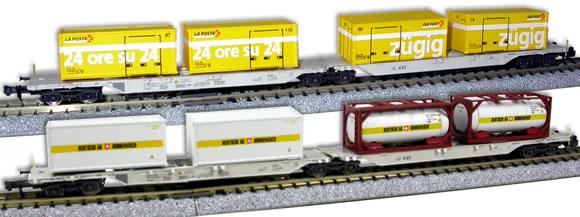 wagons Hobbytrain la Poste et Bertschi